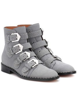Givenchy Studded Suede Buckle Embellish Gray Boots