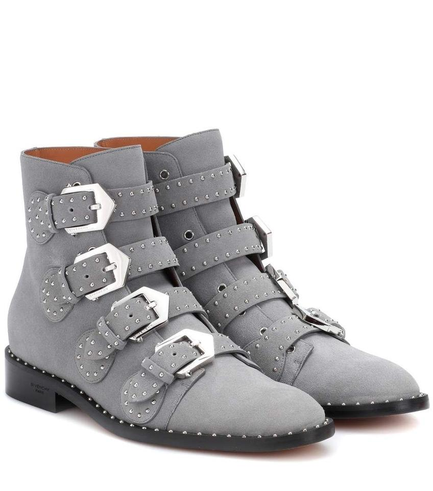 ed57e430 Givenchy Gray Elegant Embellished Suede Studded Ankle Boots/Booties Size EU  37.5 (Approx. US 7.5) Regular (M, B) 50% off retail