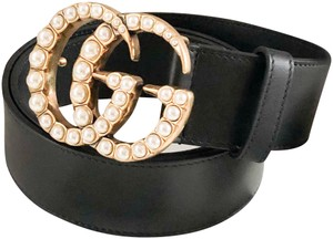 Gucci Gucci Marmont GG pearl Black Leather Belt