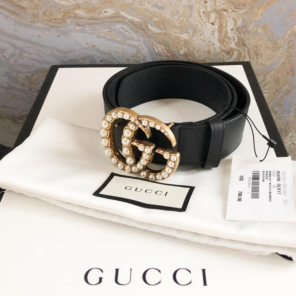 7aa45e37914 Gucci Marmont Gg Pearl Black Leather Belt - Tradesy
