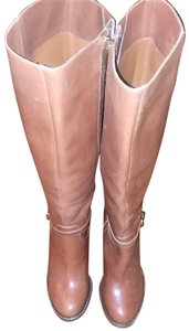Ivanka Trump Leather Gold Hardware Round Toe Brown Boots