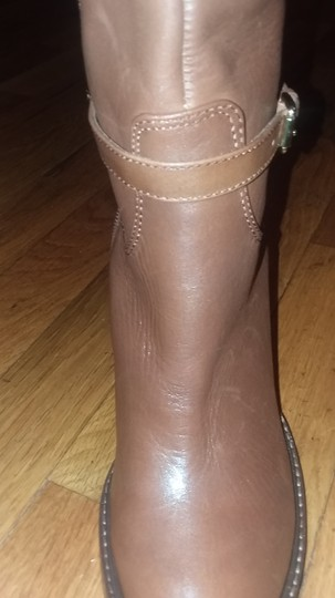Ivanka Trump Leather Gold Hardware Round Toe Brown Boots Image 1