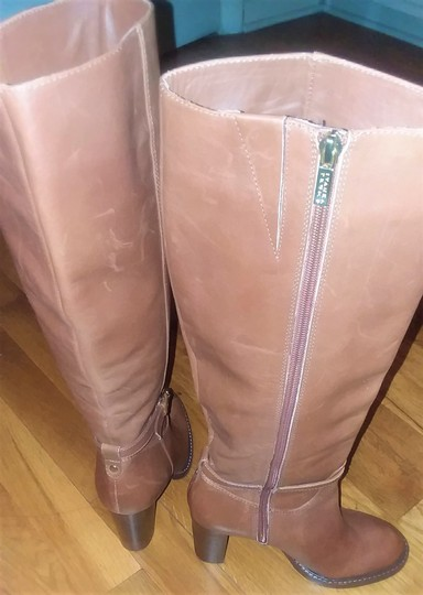 Ivanka Trump Leather Gold Hardware Round Toe Brown Boots Image 3