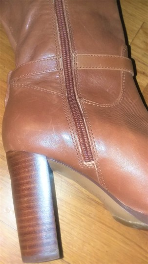 Ivanka Trump Leather Gold Hardware Round Toe Brown Boots Image 4