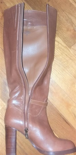 Ivanka Trump Leather Gold Hardware Round Toe Brown Boots Image 5