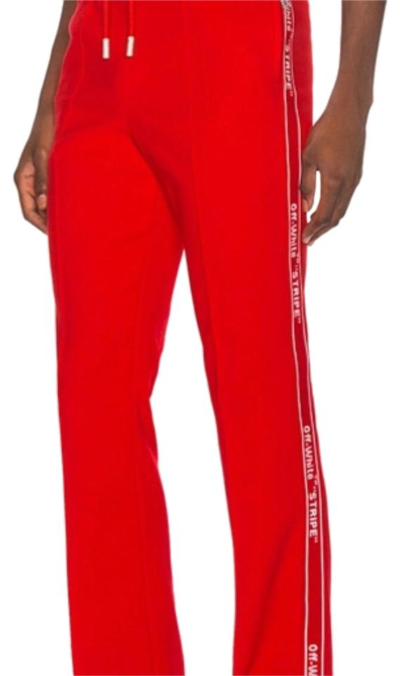 fe5e7113 Off-White™ Red Off-white Logo Tape Track Pants Size 4 (S, 27) - Tradesy