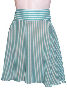 Lisa Nieves Chiffon Short Casual Mini Skirt turquoise