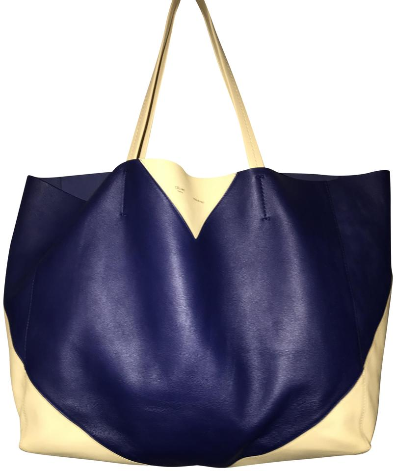 bccf47b4a7ed Céline Cabas Horizontal Blue Navy and Beige Color Blocks Leather Tote