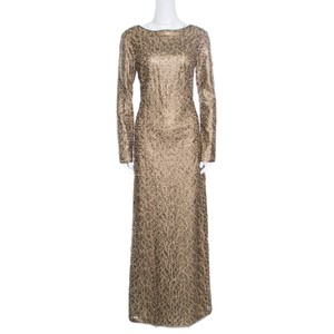 Tadashi Shoji Gold Polyester Laser Cut Embroidered Leatherette Long Sleeve Boat Neck Gown M Formal Wedding Dress Size 6 (S)