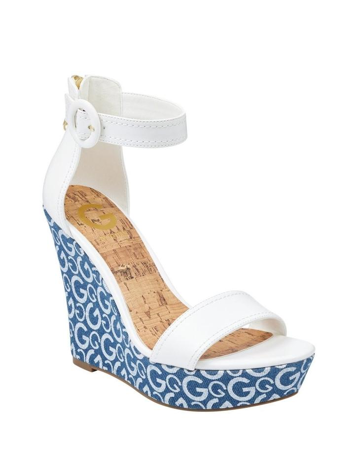 132225d80a Guess Blue & White Donny Wedges Size US 9 Regular (M, B) - Tradesy