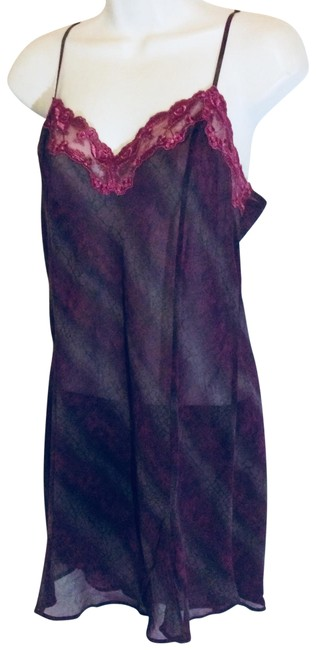 Item - Sheer Purple & Black Nightgown Short Casual Dress Size 8 (M)