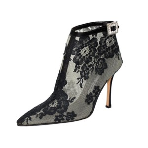 Manolo Blahnik Lace Satin Mesh Pointed Toe Black Boots