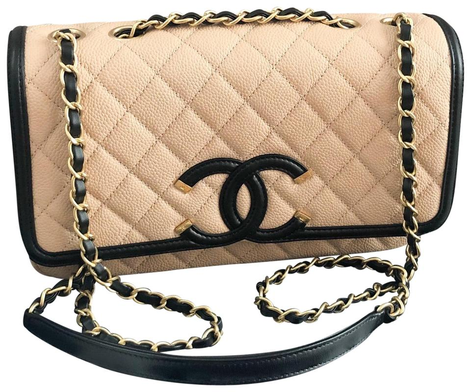33f29def0b2c Chanel Classic Flap Caviar Quilted Medium Filigree Beige Black ...