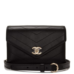 Chanel Chevron Limited Edition Black Messenger Bag
