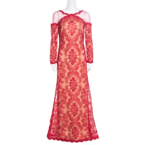 Tadashi Shoji Red Polyester Floral Lurex Embroidered Sheer Shoulder Detail Gown Casual Wedding Dress Size 6 (S)