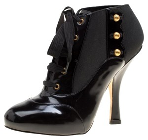 Dolce&Gabbana Leather Lace Ankle Black Boots