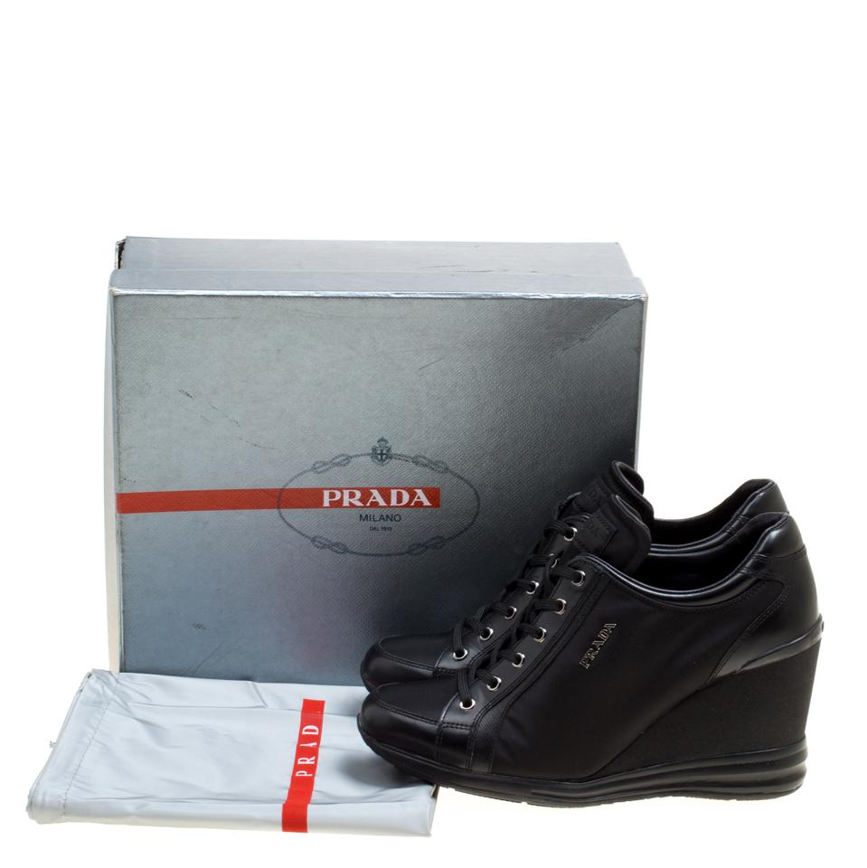 4b40e58fc393 Prada Black Sport Canvas and Leather Wedge Sneakers Sneakers Size EU ...