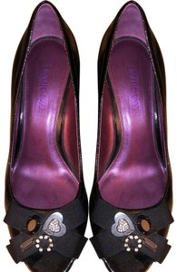 Coach Charm Patent Leather Black Wedges