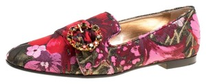 Dolce&Gabbana Leather Floral Crystal Multicolor Flats
