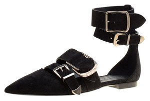 Burberry Suede Ankle Pointed Toe Black Flats