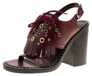 Burberry Detail Leather Burgundy Sandals