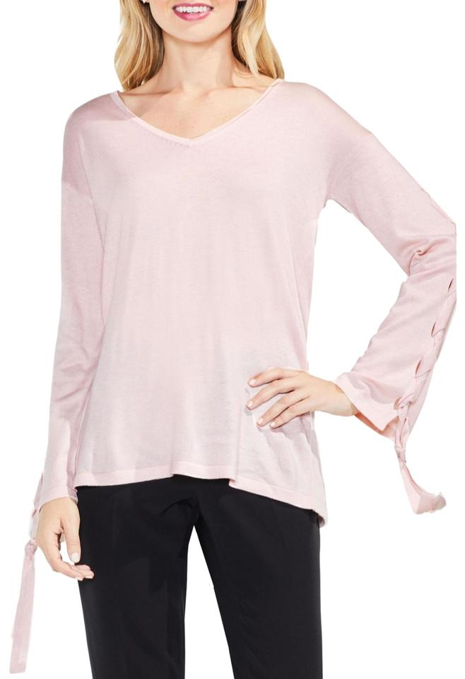 f6d1e2718f70a8 Vince Camuto Lace-up Bell Sleeve New Hush Pink Sweater - Tradesy
