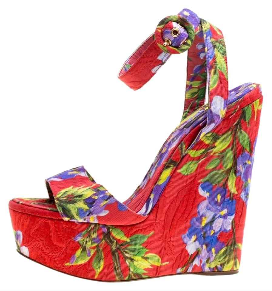 9ede824c25f1 Multicolor Dolce and Gabbana Floral Printed Fabric Platform Wedge Sand  Sandals