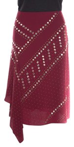 Tory Burch Silk Embellished Skirt Red