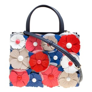 Kate Spade Floral Leather Satchel in Navy Blue