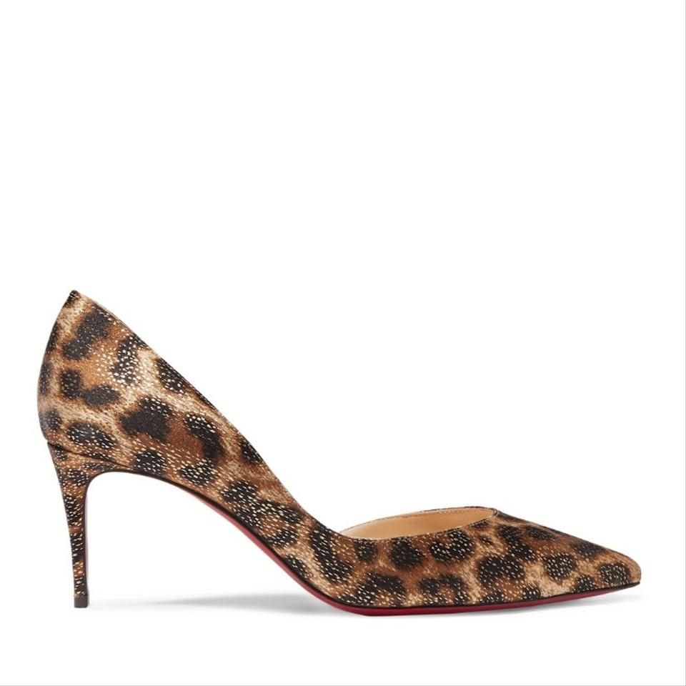 new concept fbc2d 6f678 Christian Louboutin Iriza 70 Metallic Leopard Satin Pumps Size US 8 Regular  (M, B)