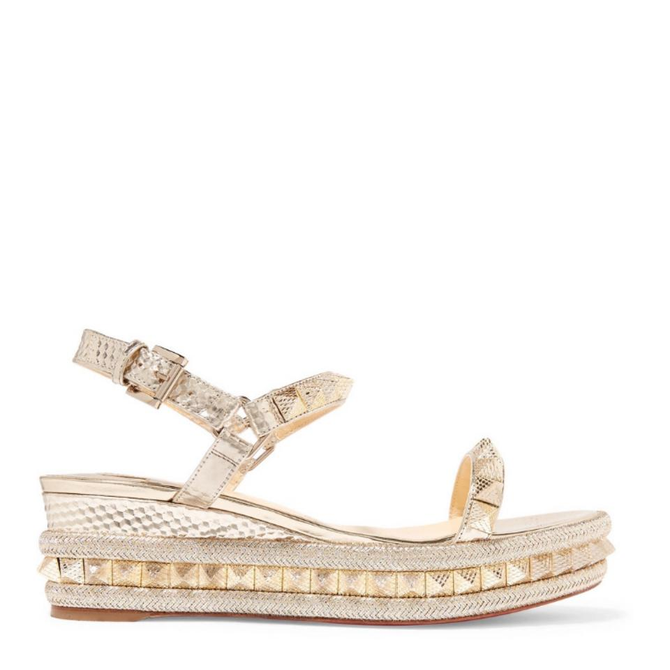 new style ede6a 0df91 Christian Louboutin Pyraclou 60 Spiked Metallic Espadrille Wedges Size EU  37 (Approx. US 7) Regular (M, B)