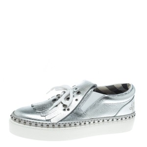 Burberry Detail Leather Silver Flats