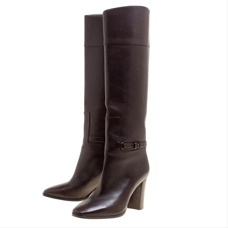 d1658f3666e0 Christian Louboutin Brown Leather Mervillon Knee Boots Booties Size ...
