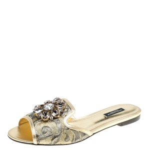 581a4338c Dolce Gabbana Leather Brocade Fabirc Leather Trim Gold Flats