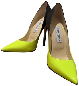 Jimmy Choo Black/Neon Yellow Pumps
