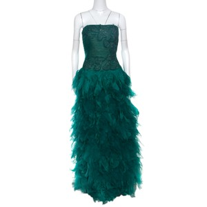 Tadashi Shoji Green Tulle Embroidered Faux Feather Strapless Gown L Casual Wedding Dress Size 10 (M)