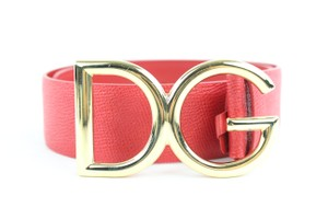 Dolce&Gabbana Red Leather Cintura Logata St. Dauphine Belt 5MZ0114