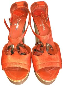 Chanel Orange Mules