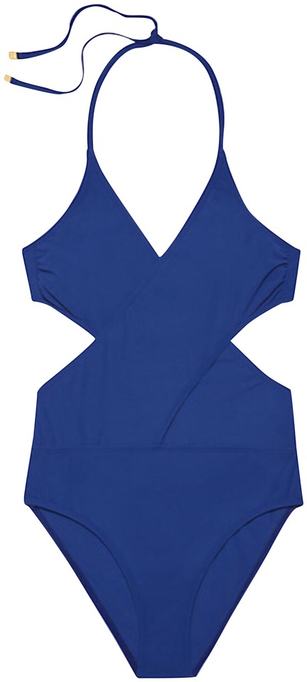 9b4993e318 Tory Burch Royal Blue Solid Wrap Spf50 One-piece Bathing Suit Size 6 ...