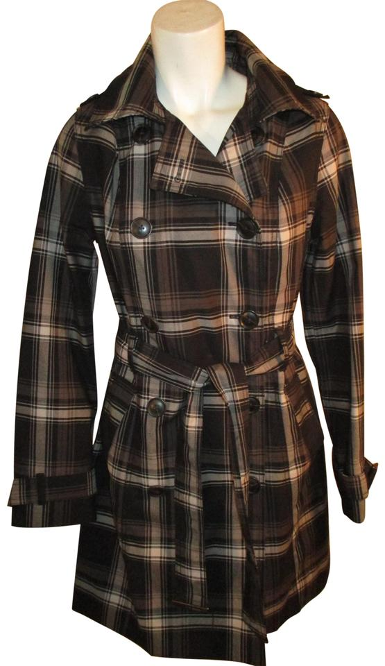 0222e09acf0 Merona Black White   Brown Double Breasted Plaid Trench Coat Size 4 ...