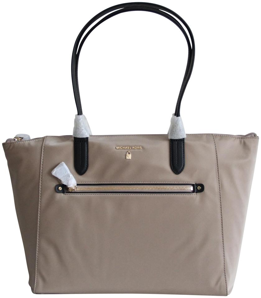 0f576d04e8a2a2 Michael Kors Kelsey Large Top Zip Travel Beige Nylon Tote - Tradesy