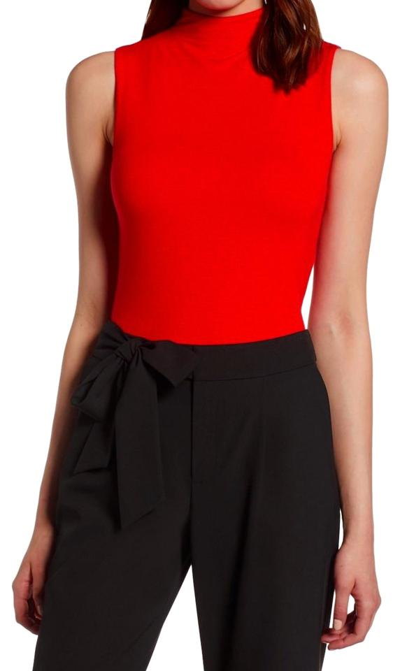 0b271c25d89 Halogen Funnel Neck Sleeveless Sleek + Smooth Layer Or Not Dress Up Or Down Top  Red ...
