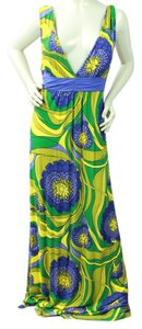 ARDEN B short dress YELLOW/BLUE Print Plunging Maxi on Tradesy