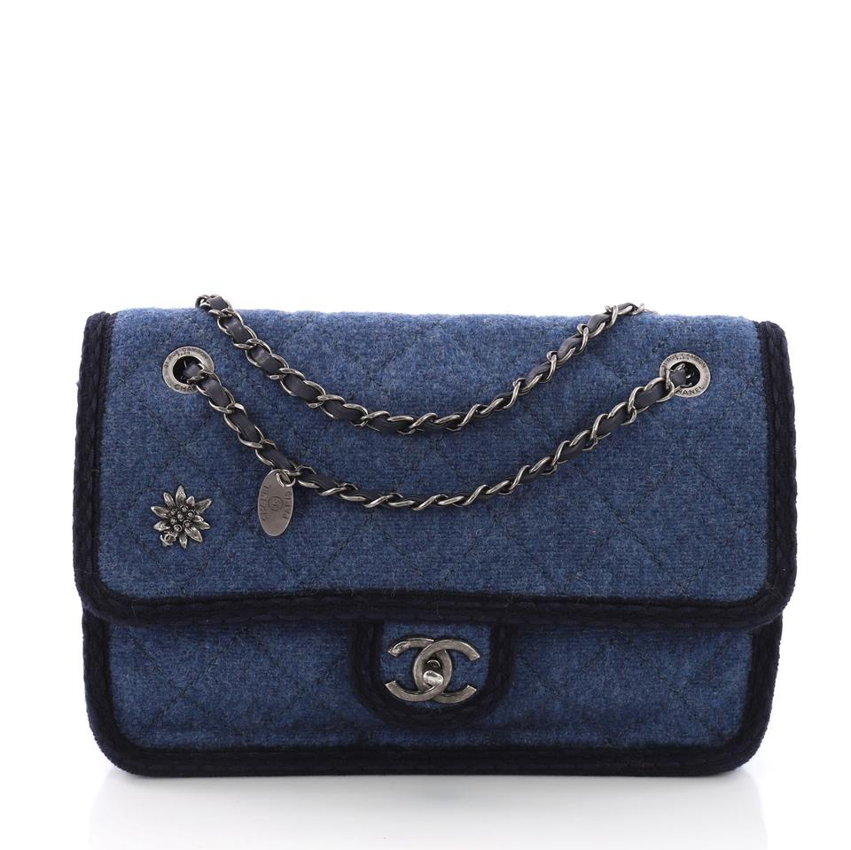 Chanel Classic Flap Paris-salzburg Quilted Small Blue Wool Shoulder ... ebd6eb1492