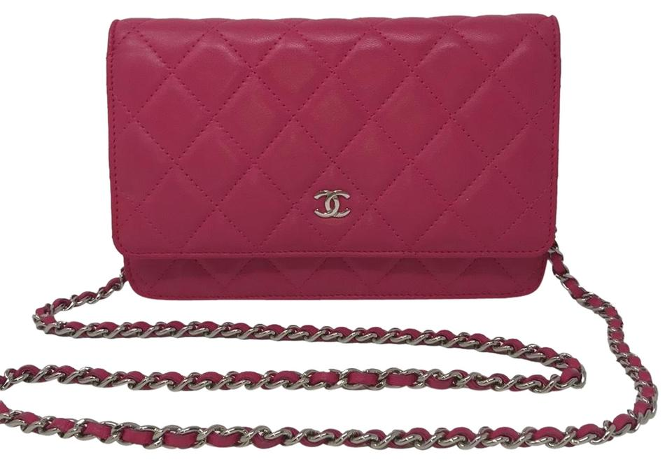 89fc706a3e164 Chanel Wallet on Chain Quilted Fuchsia Lambskin Leather Cross Body ...