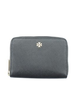Tory Burch Tory Burch Robinson Mini Black Coated Canvas Zippered Wallet (163473)