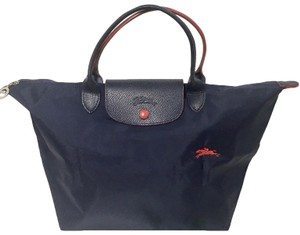 Longchamp Nylon Leather Embroidered Tote in Navy blue
