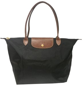 Longchamp Foldable Nylon Leather Tote in black