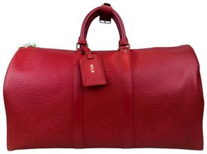 Louis Vuitton Epi Leather Keepall 45 Duffle Red Travel Bag