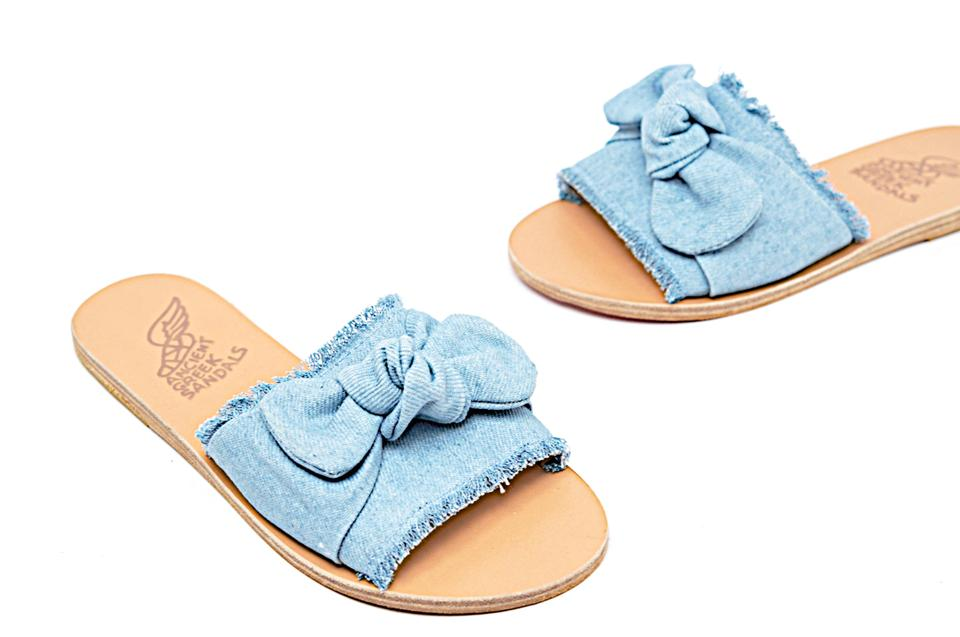 Ancient Greek Sandals Blue Light Denim Knot Front Flat Sandals Size EU 36  (Approx  US 6) Regular (M, B)
